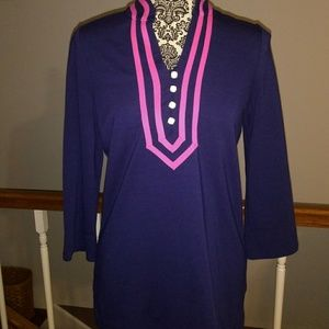 Lilly Pulitzer Navy Blue Pink Faux Pearl Tunic Top